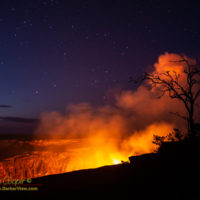 The glowing pit of Halemaʻumaʻu with the new lava lake