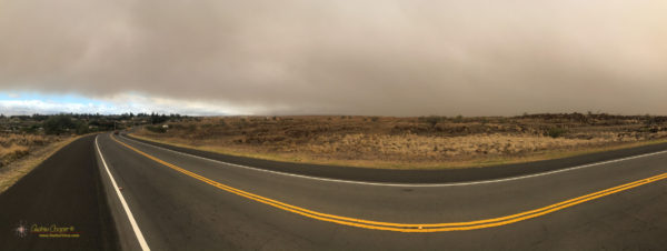 Looking back over Waikoloa to the wildfire